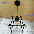 painted Iron Pendant Lighting Vintage Lamp Holder Incandescent Bulb iron cage Stainles Vintage Industrial Lighting Fixtures