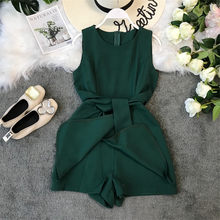 Slim Fashion Ladies Irregular Bandage Rompers Summer Short Jumpsuit Casual Women Tank Playsuit Tie Elegant High Waist Romper(China)