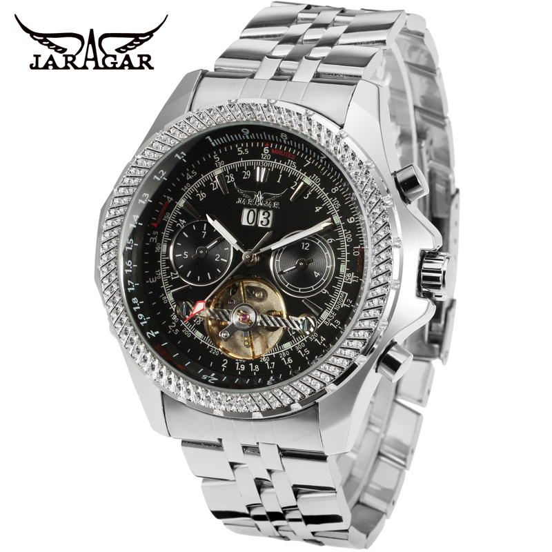 JARAGAR Men Brand Stainless Steel Military Tourbillion Automatic Mechanical Wristwatches Fashion Male Watch Relogio Releges jaragar men luxury watch stainless steel tourbillion automatic mechanical wristwatch relogio releges