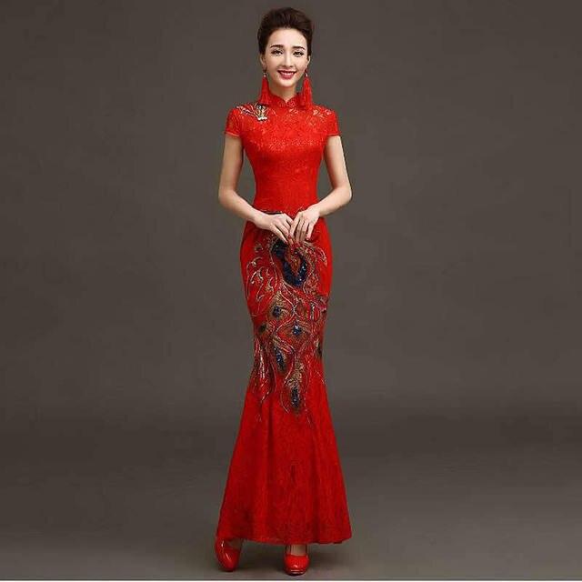 016506e84 Venta caliente Tradicional Estilo Chino Cheongsam Rojo de la Novia Largo de  Encaje vestido de Traje
