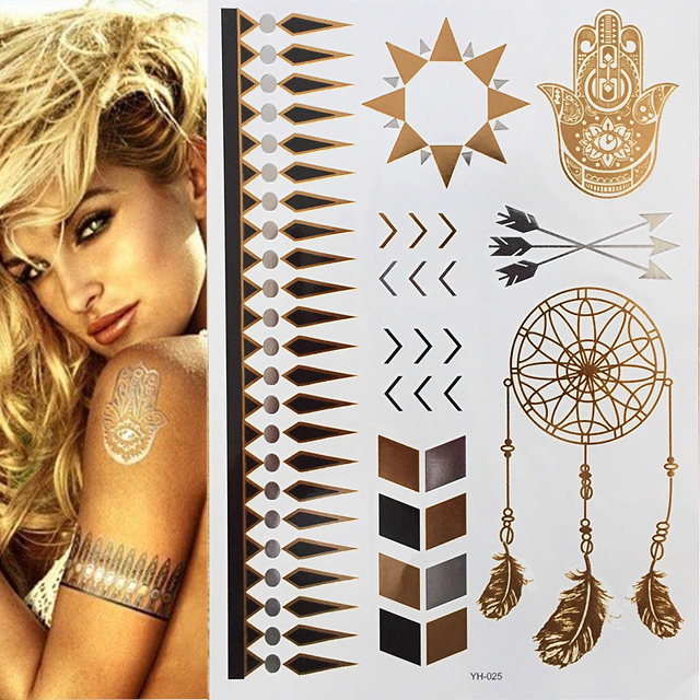 Boho Style Angle Wing Temporary Metallic Tattoo Hot Sale Gold Body Paint Sexy Women Tattoo