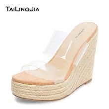 купить Wedge Heel Nude Summer Shoes Open Toe High Heel Platform Slip On Woman Summer Clear Transparent PVC Beach Shoes Brand  Wholesale по цене 4355.08 рублей