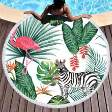 Round Beach Towel With Tassels Flamingo Printed Microfiber 150cm For Summer Swimming Picnic Tapestry Blanket Bathing Towels