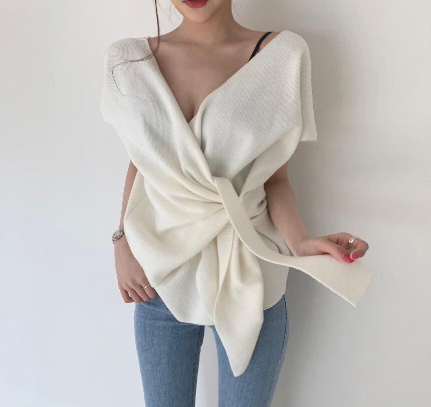 Sexy col en V tricoté T-shirt été croix Bandage dames hauts coréen Slim t-shirts à manches courtes chandail T-shirt