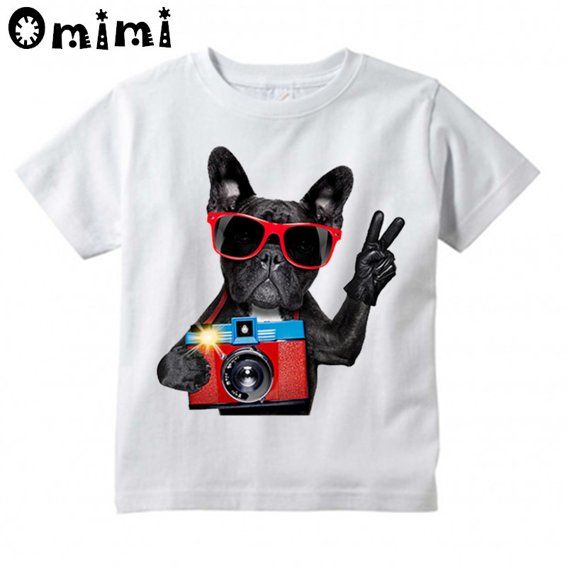 Boys/Girls French Bulldog Design T Shirt Kids Casual Cool Tops Children's Summer White Cute T-Shirt