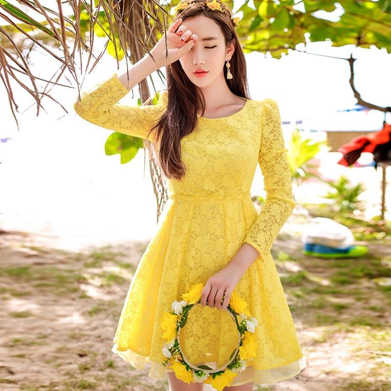 Dabuwawa long sleeve 4 colors lace dress women Hollow out beach party dress 2018 Summer high waist short dress vestidos