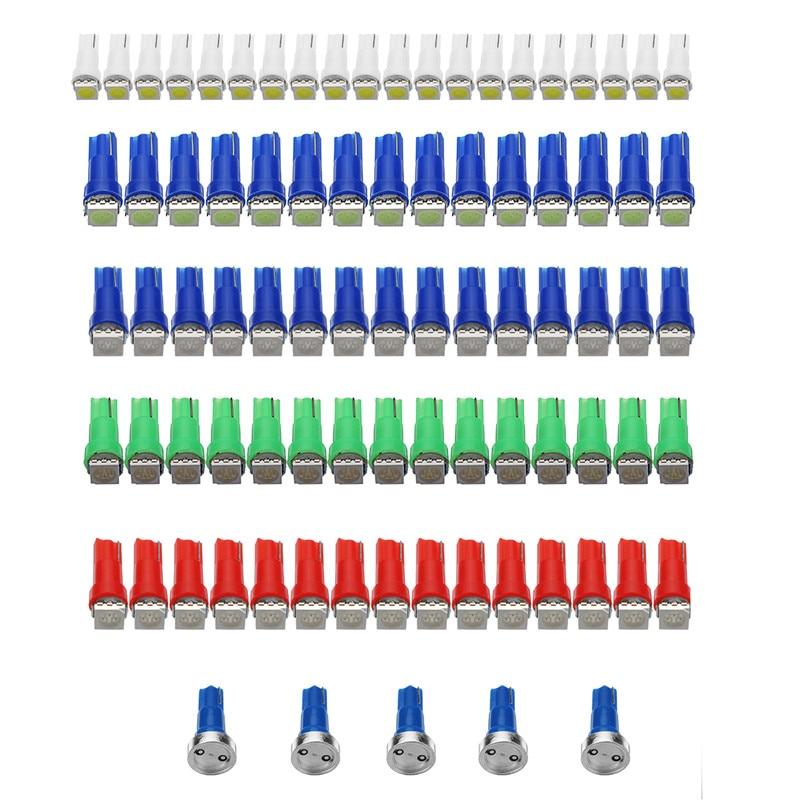 85pcs/set T5 5050 LED Dash Instrument Panel Light Wedge Dashboard Light Bulb Ice Blue Red Blue Green White DC12V 2pcs lot red led light 25 31mm spst 6pin on off g128 boat rocker switch 16a 250v 20a 125v car dash dashboard truck rv atv home