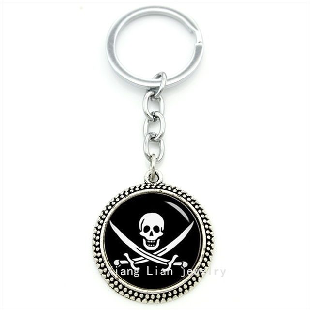 Authentic retro jewelry key chain Jolly Roger skull and machete Pirate pendant keychain ring jewelry glass cabochon gift