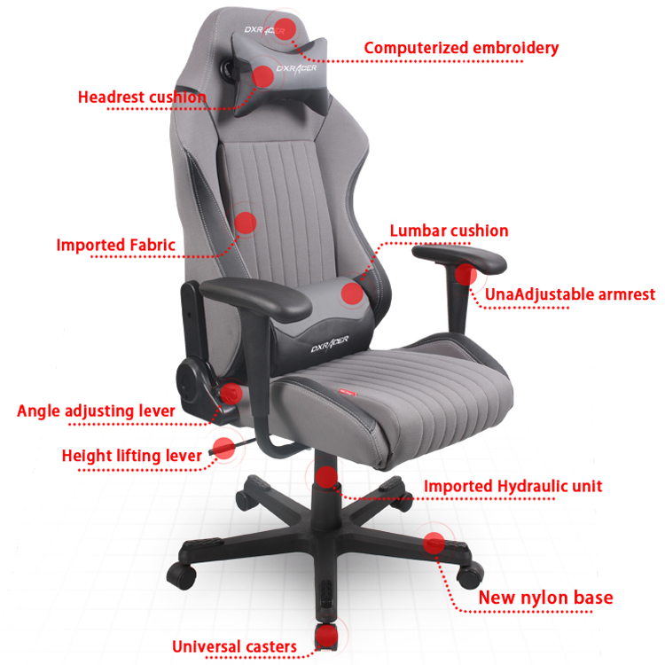 Office Chair Adjustment Levers Bin Bag Chairs Dxracer Oh Da02 Gn Gaming Ergonomic Computer Esports Desk Executive Furniture With Free Cushions