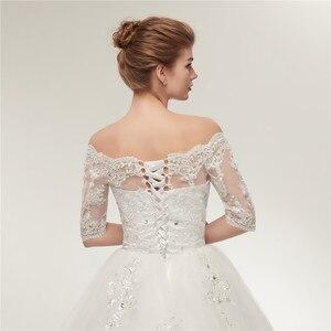 Image 5 - Fansmile robes de mariée Vintage en dentelle, en Tulle, robes de mariée à manches longues, taille grande, 2020, FSM 130T