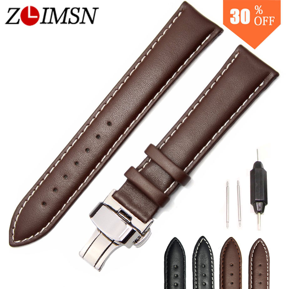 ZLIMSN Men s Womens Genuine Leather Watchbands Suitable for Tissot 18 20 22 24mm Black Brown