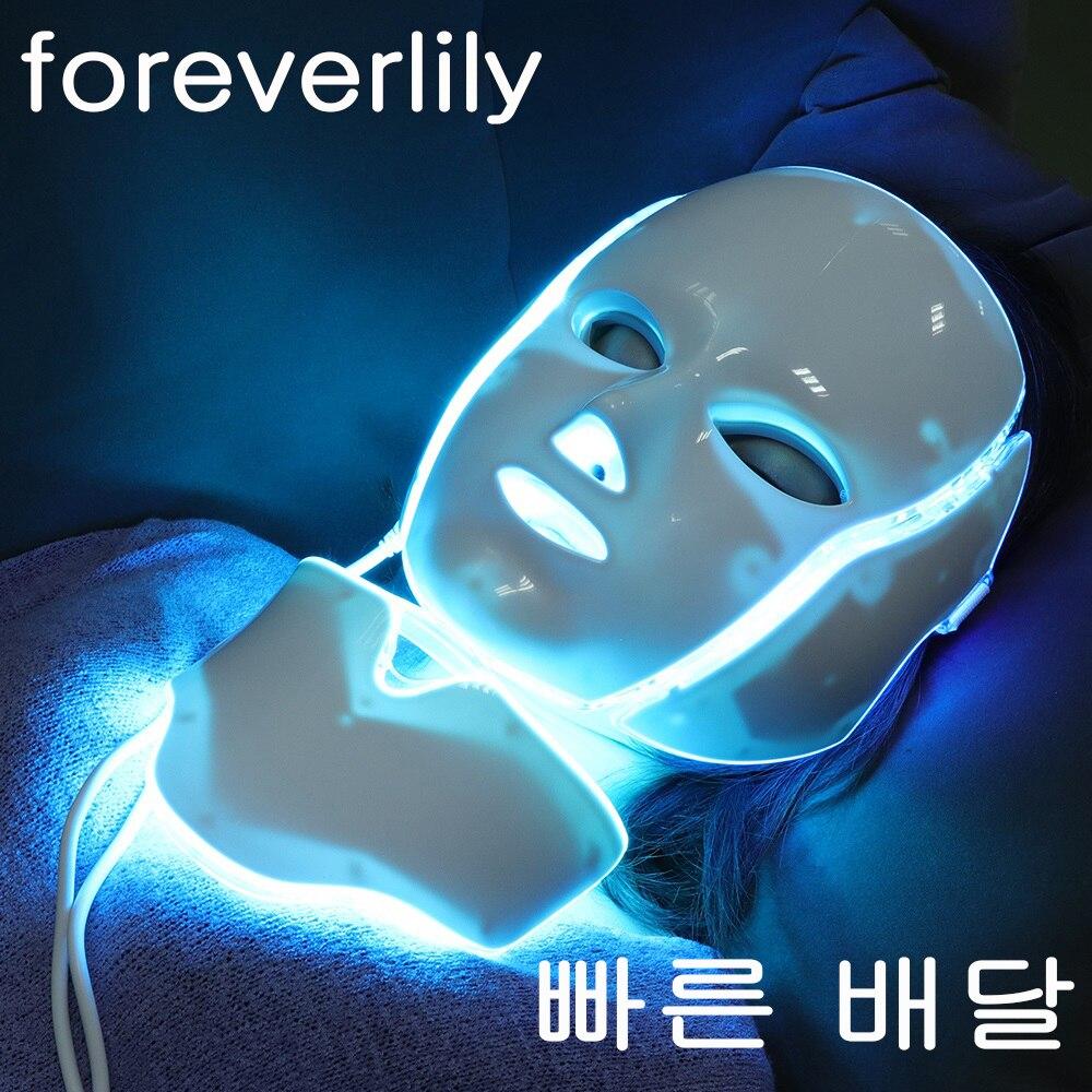 Foreverlily 7 couleurs LED clair masque Facial avec cou rajeunissement de la peau soins du visage traitement beauté Anti acné thérapie blanchiment