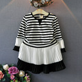 Lolita style long sleeve striped kids dresses for girls 2017 party Princess dresses korean children clothing baby tutu dress
