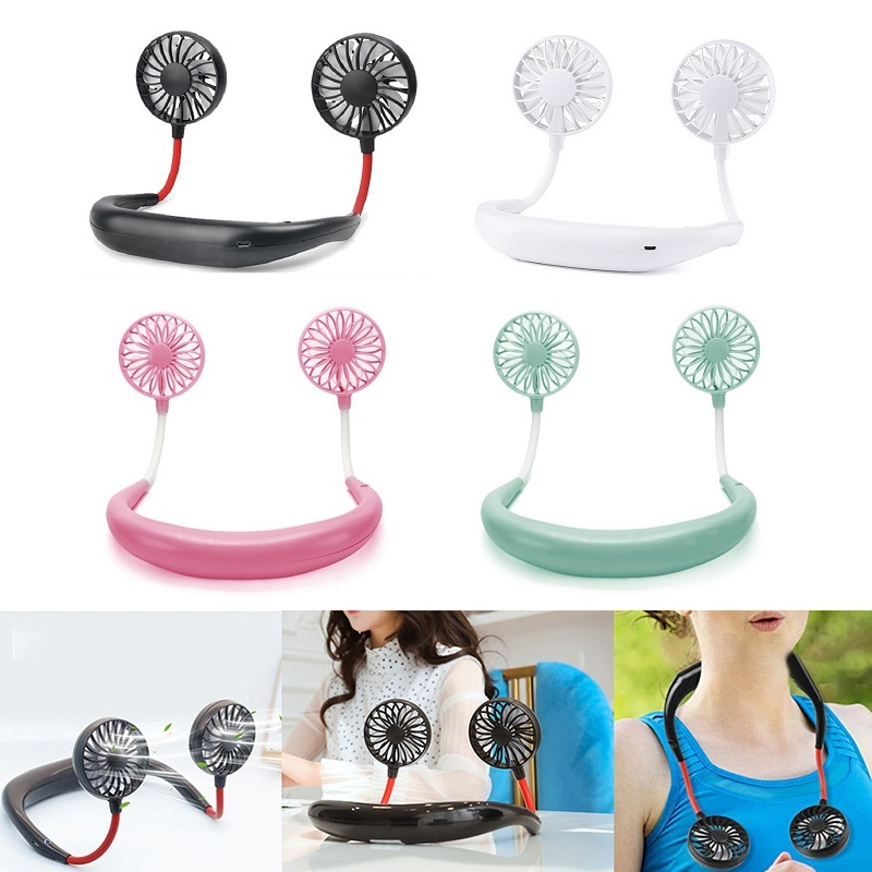 USB Portable Hand Free Neckband Fans  Rechargeable 1200mA Battery Operated Dual Wind Head 3 Speed Neck Fan