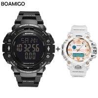 100m water resistant men sports watches BOAMIGO brand pedometer calories LED digital watches swim set wristwatches reloj hombre