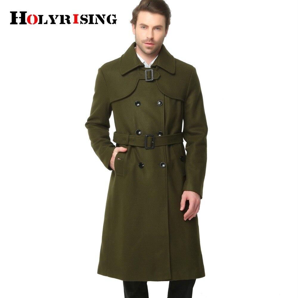 S 6XL 2017 moda jesień zima klasyczne mężczyźni Trench Slim płaszcze z wełny podwójny przycisk wełniane płaszcze długi znosić armii zielony czarny w Trencze od Odzież męska na  Grupa 1