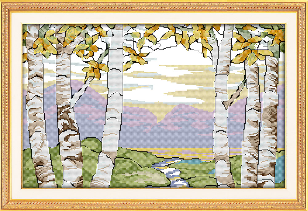 Birches In The Summer Needlework Diy Dmc Cross Stitch Landscape Tree Cross Stitch In Cross-Stitch Package Kits For Embroidery