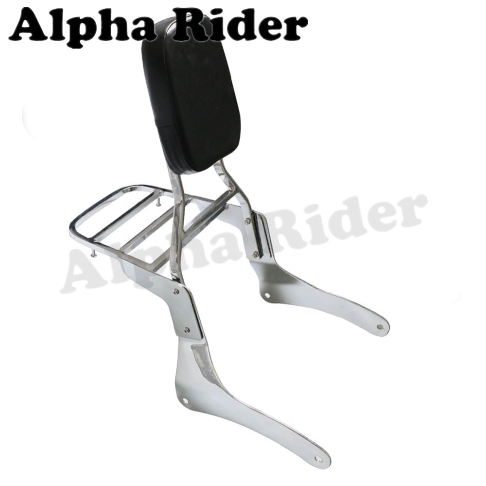 Rear Luggage Rack Support Holder Saddlebag Cargo Shelf Bracket w/ Detachable Backrest Sissy Bar Kit for Kawasaki Vulcan VN 900