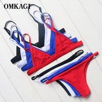 OMKAGI Brand Women Basic Style Micro Bikini Set Swimsuit Women Summer Bandage Bathing Suit Low Waist