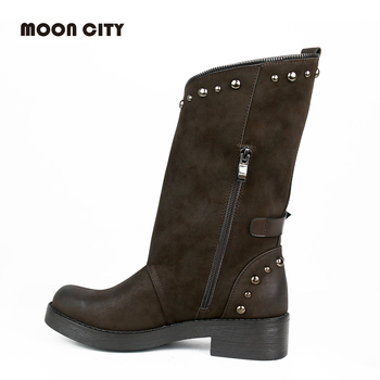 Autumn & Winter Fashion Mid Calf Boots For Women Casual Motorcycle Boots 1