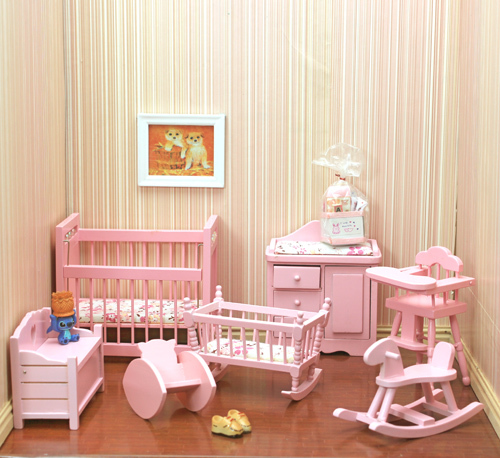 Attractive 1/12 Dollhouse Miniature Furniture Pink Mini Crib Baby Room Sets Wooden  Furnishing Free Shipping ...
