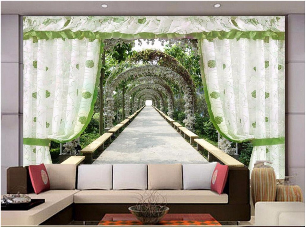 3d wallpaper Custom photo mural Curtain garden corridor picture living room decor painting 3d wall mural wallpaper for walls 3 d custom mural 3d photo wallpaper water falls crane home decor painting 3d wall murals wallpaper for living room walls 3 d