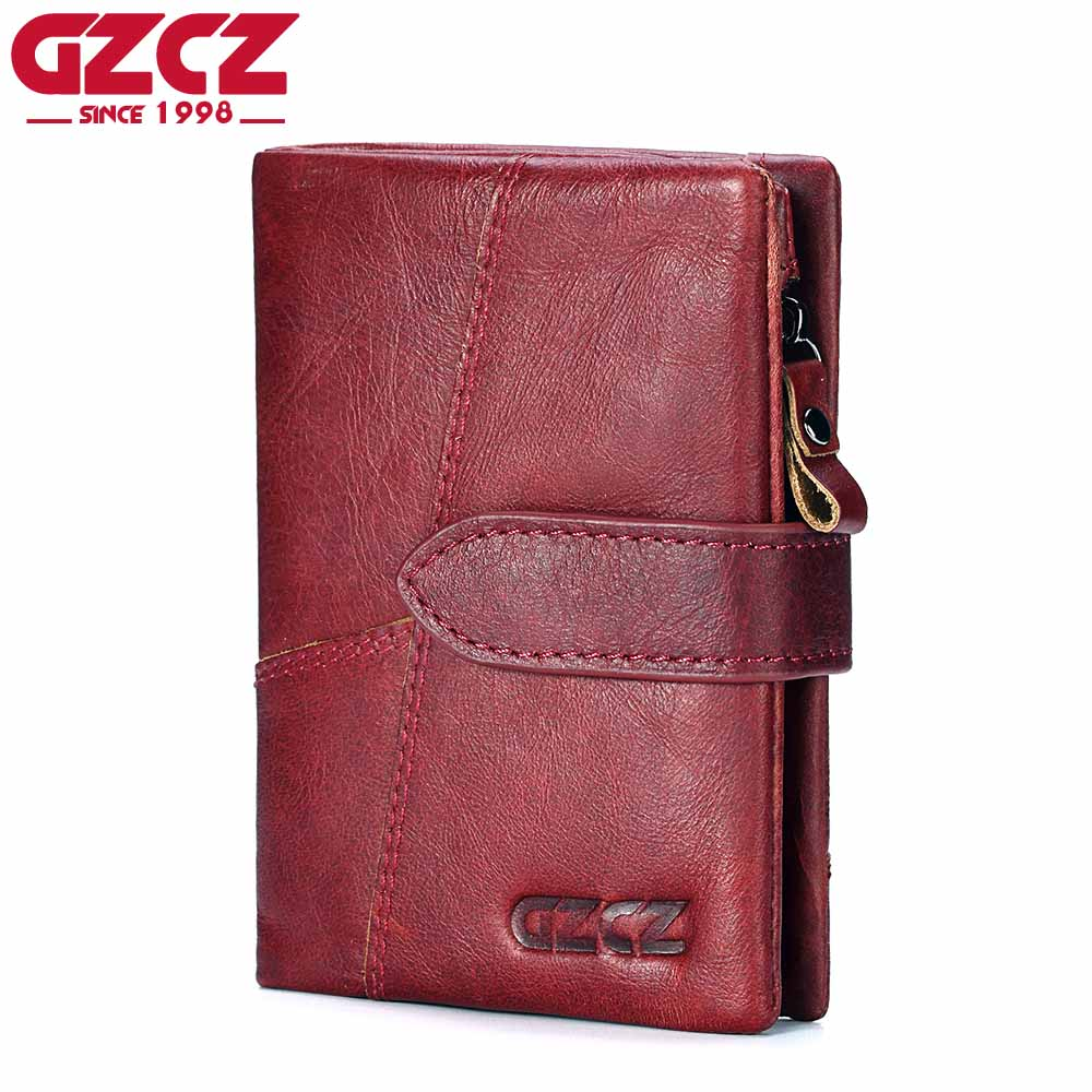 Genuine Leather Women Wallet Female Clamp For Money Vintage Small Walet Zipper Design Portomonee Woman Vallets Mini Purse