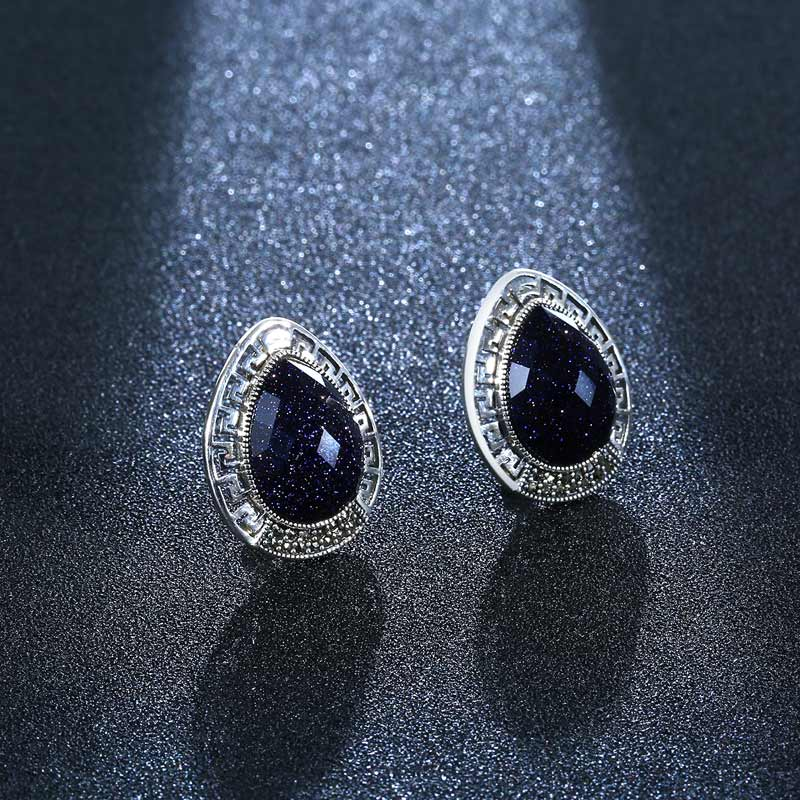 купить 925 Sterling Silver Black Gemstone Stud Earrings Wedding Fine Jewelry Original Design Aventurine Earrings for Women онлайн