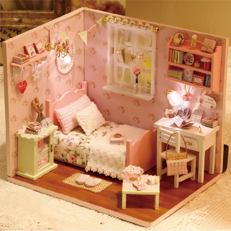 DIY Doll House Miniature Dollhouse with Furnitures LED 3D Wooden House Toys For Children Birthday Gift Handmade Crafts H002 #E
