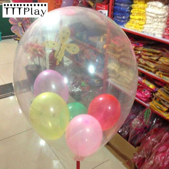 2 Unid gran tamaño partido decoración globo 18 látex transparente pulgadas helio  globo Feliz cumpleaños partido 5288f120ff0cd