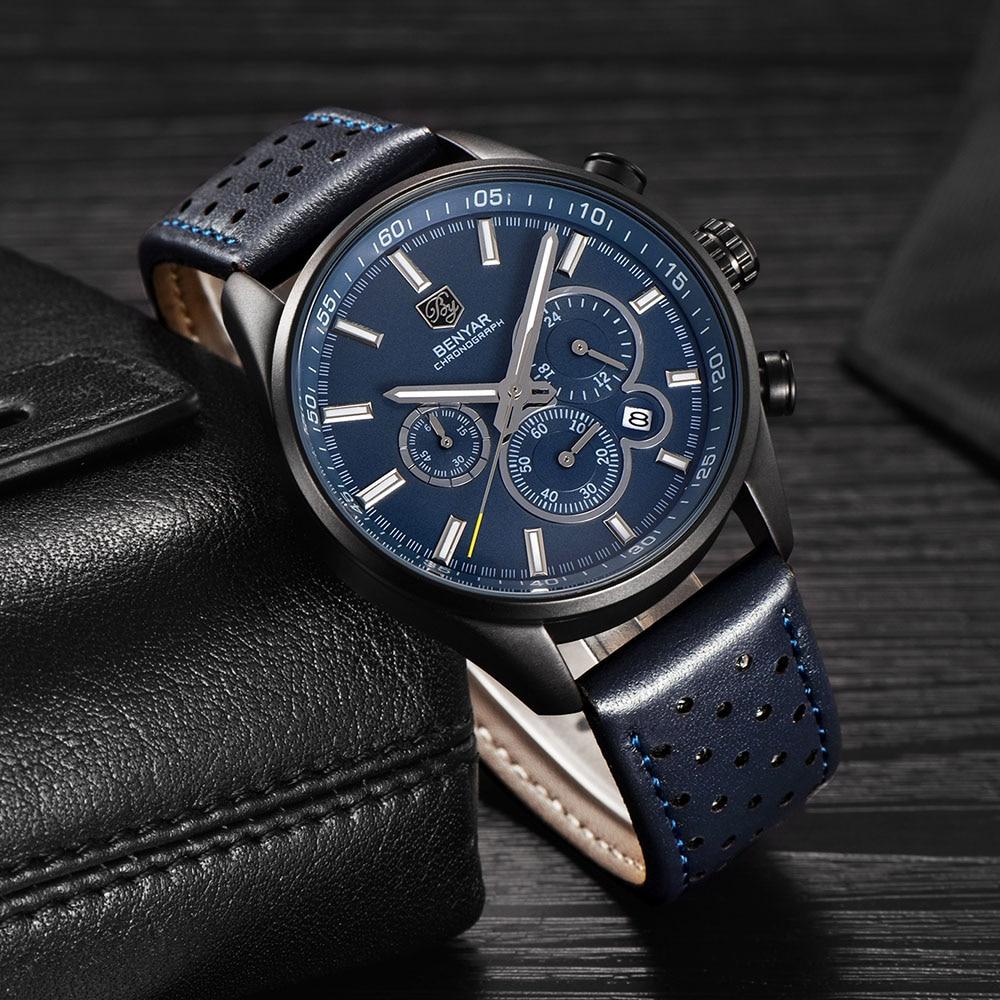 BENYAR Brand Sport Watches Men Military Chronograph Quartz Leather Business Wrist Watch Male Clock Relogio Masculino SAAT  недорого
