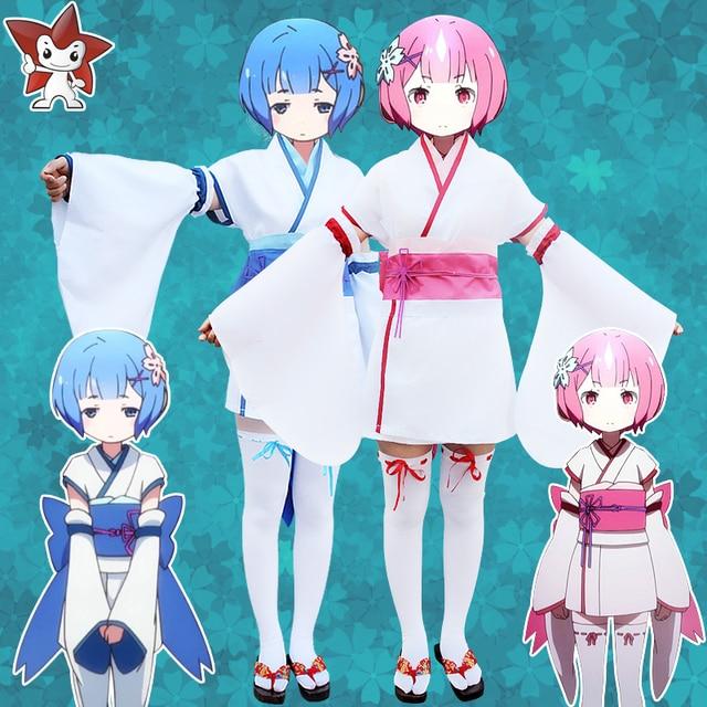 Re  zero Kara hajimeru isekai seikatsu Ram REM kimono vida en un mundo  diferente de 1d140db5f6ae