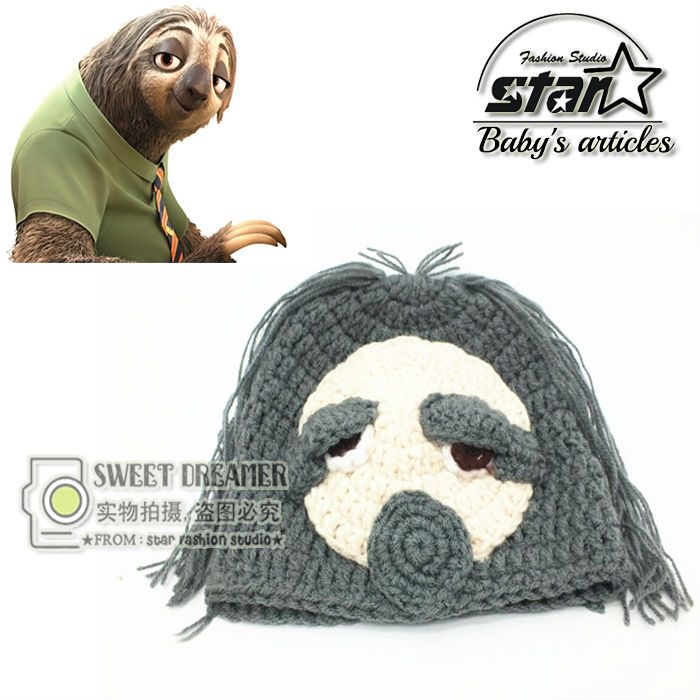 Baby Cosplay Zootopia Children Hand-knitted Hat Crochet Beanie Kids Bradypod Flash Woolen Caps Handmade Costume