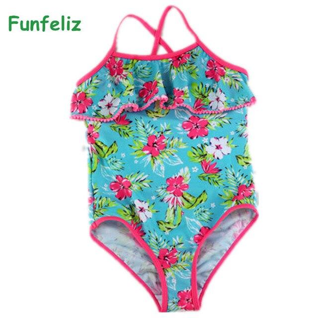 a8fd232297897 Funfeliz Girls Swimsuit Print Ruffle Baby Girl bathing suit Children swim  wear one piece Swimwear Kids Swimming suit 3Y-14Y