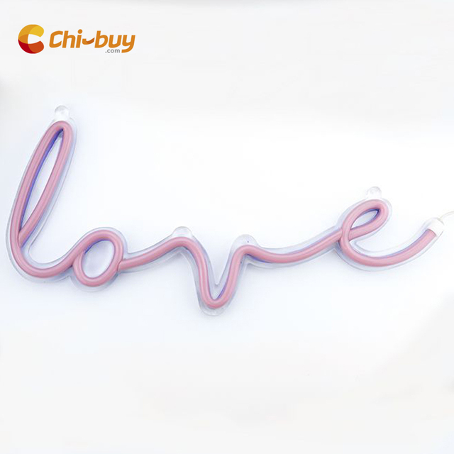 Chi-buy LOVE Led Neon Sign LED Neon light sign  Letter Wall Decor Neon sign light Home Decor gift  wedding Party