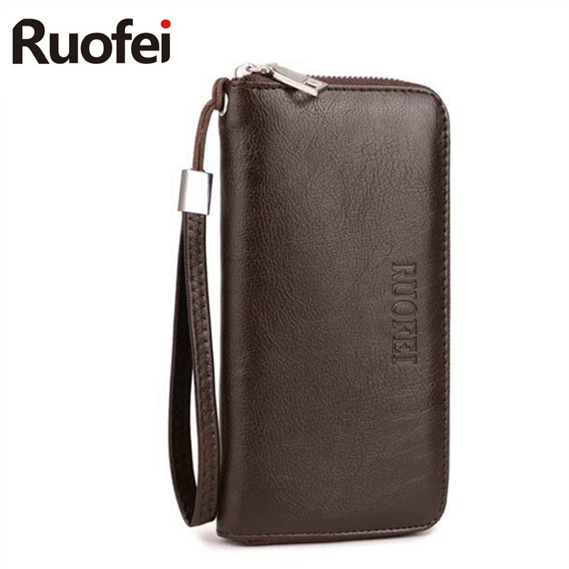 2017 luxury Male Leather Purse RUO FEI Men's Clutch Wallets Handy Bags Business  Wallets Men Black Brown Dollar Price 2016 famous brand new men business brown black clutch wallets bags male real leather high capacity long wallet purses handy bags