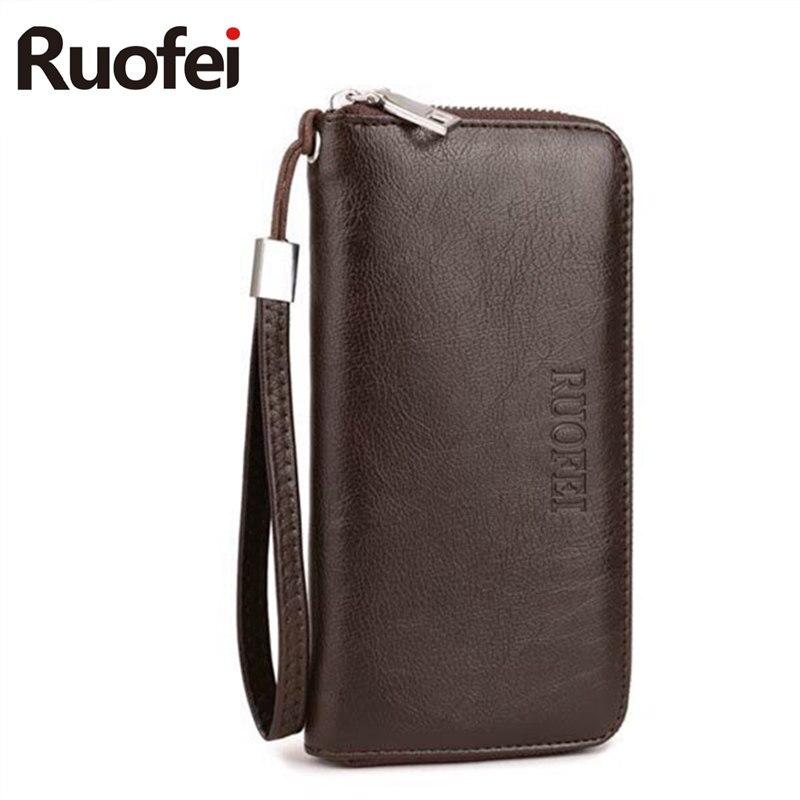 RUOFEI2017 luxury Male Leather Purse Mens Clutch Wallets Handy Bags Business  Men Black Brown Dollar Price