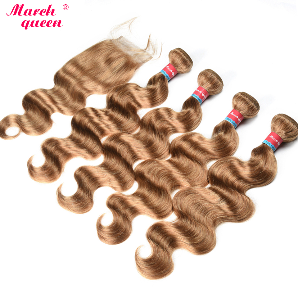 March Queen Malaysian Honey Blonde Bundles With Closure #27 Body Wave Hair 4 Bundles With Lace Closure 100% Human Hair Weave