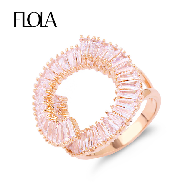 FLOLA AAA Rose Gold Irregular Adjustable Circle Sun Ring Forever