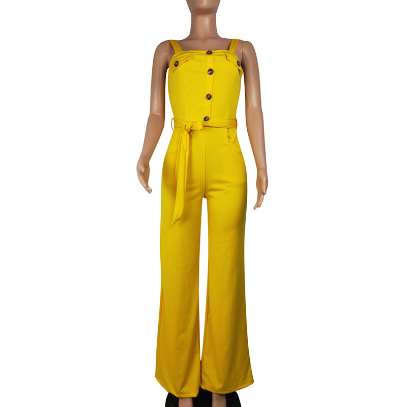 8d4da124e1231 Women Suspender Jumpsuit Spaghetti Strap Belt Button Maxi Romper Wide Leg  Long Pants Female Overalls Streetwear Party Yellow Jum