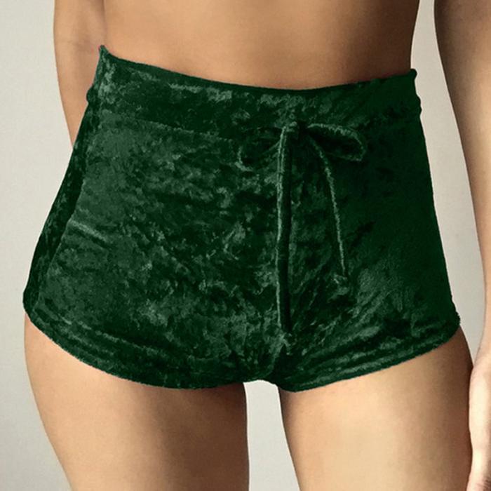 Velvet Drawstring Shorts Casual High Waist Spring Summer Sexy Skinny Short Pants 19