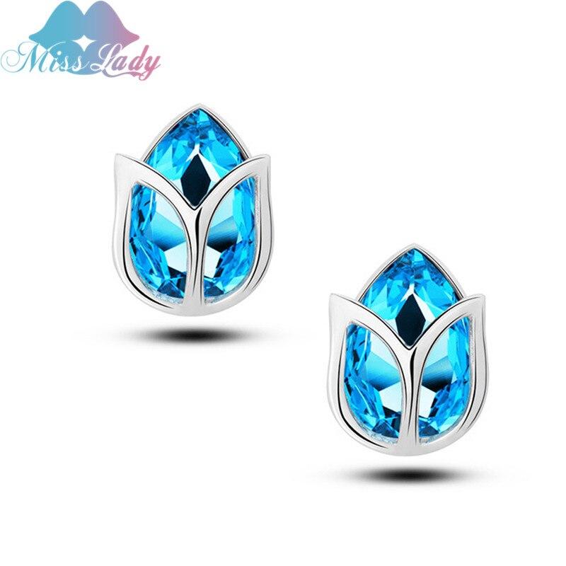 Miss Lady Silver color rhinestone cristal hueco flor azul Pendientes de  broche al por mayor de la joyería de la manera para las mujeres mly5621e 2f098c7ce3d
