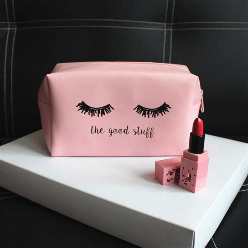 PURDORED 1 pc Pink Handbag Kawaii Eyelash Cosmetic Bag Women makeup Bag PU Makeup Pouch Vanity Cosmetic Cases Dropshipping