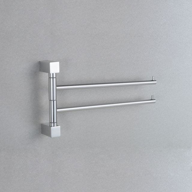 33cm Square Aluminum double towel bar flexible 180 degree rotating towel rail for bathroom with hooks bathroom accessori