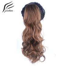 5 Pieces jeedou Wavy Synthetic Hair Claw Ponytail 22 55cm 170g Black Burgundy Color Ponytail Hair