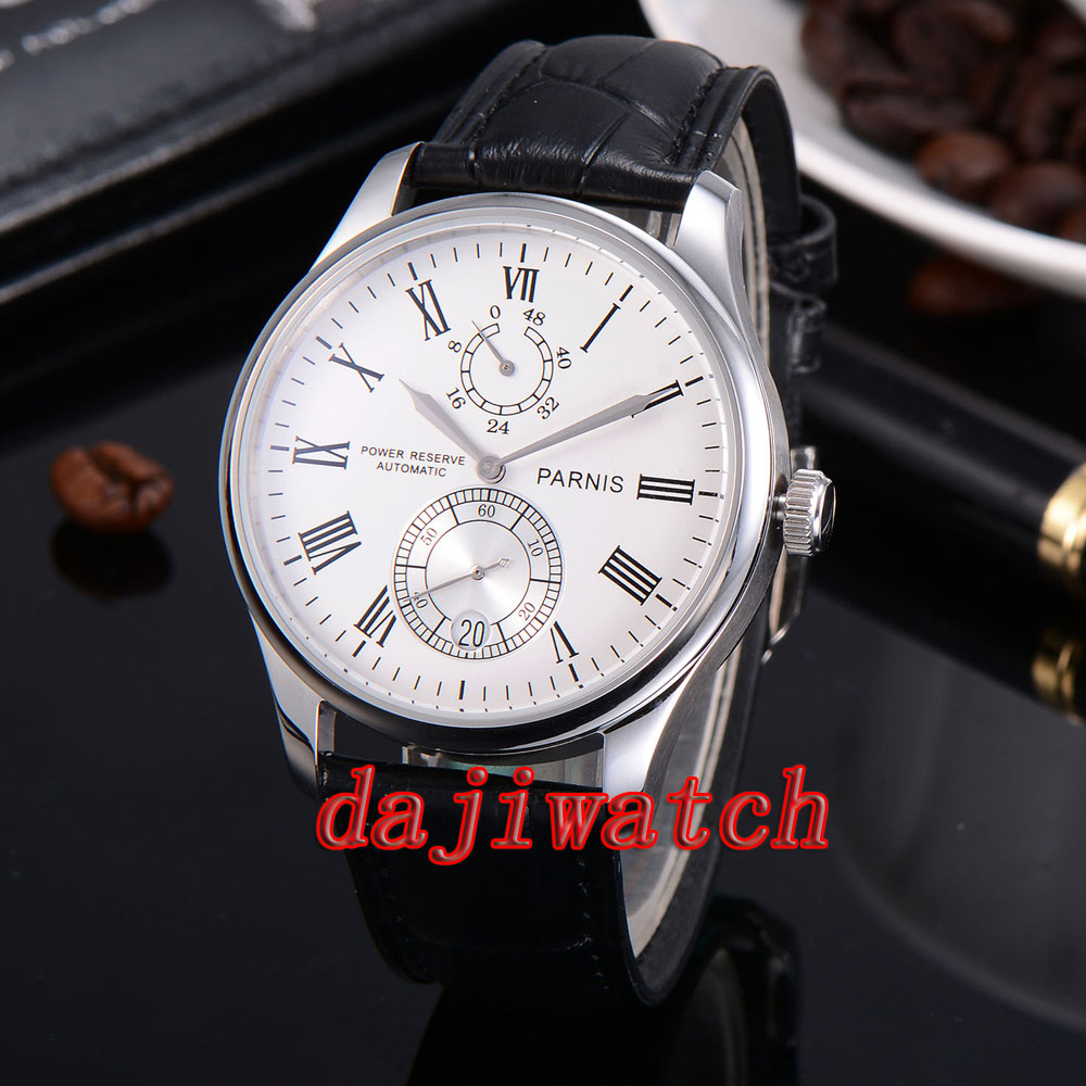 Parnis 43mm watch Power Reserve white/black dial mechanical Automatic Watch men Leather Strap globo настольная лампа globo nostalgika 6900 1t
