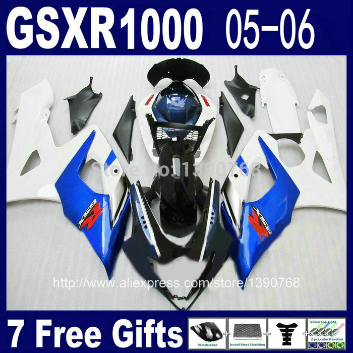 ABS full fairing kit for SUZUKI injection mold K5 K6 GSXR1000 2005 2006 blue white black fairings set GSXR 1000 05 06 NJ73 cowl abs full fairing kit for suzuki injection molding k5 gsxr1000 2005 2006 red flames black fairings set gsxr 1000 05 06 yq67 cowl