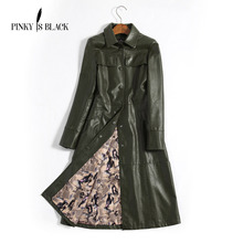 Pinky Is Black 2017 New Arrival Women Autumn Winter Faux Leather Jackets Lady Fashion Long Motorcycle Coat Trench Outwear