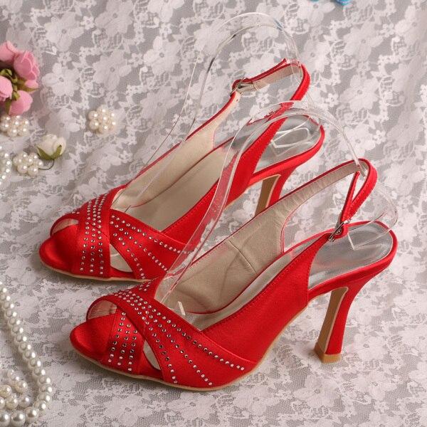 Wedopus Name Brand Red Slingback Heels Peep Toe Wedding
