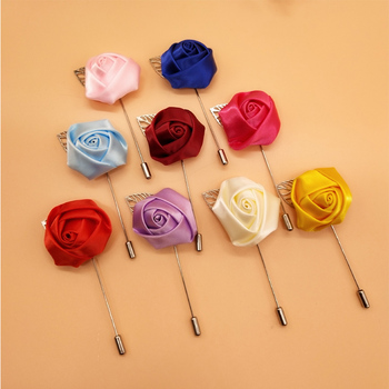 100 Pcs Men's Boutonniere Pins Silk Rose Artificial Flowers Groom Men Women Prom Corsage Brooch Lapel Pin For Clothes Decoration